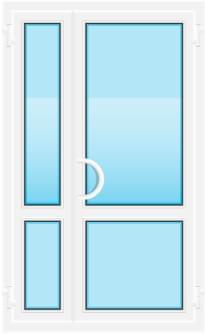 Пластиковая дверь со стеклянными вставками